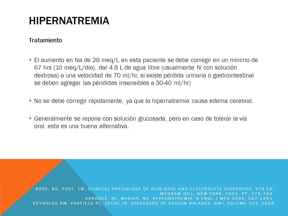 HIPERNATREMIA Tratamiento El aumento en Na de 28 meq/L en esta paciente se debe corregir en un mínimo de 67 hrs (10 meq/L/día), dar 4.8 L de agua libr