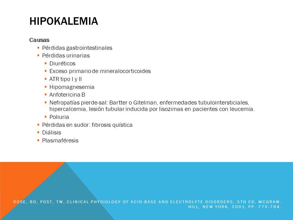 HIPOKALEMIA Causas Pérdidas gastrointestinales Pérdidas urinarias Diuréticos Exceso primario de mineralocorticoides ATR tipo I y II Hipomagnesemia Anf