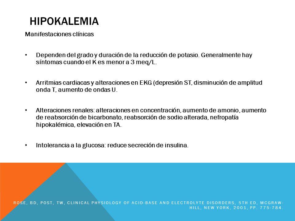 HIPOKALEMIA Manifestaciones clínicas Dependen del grado y duración de la reducción de potasio. Generalmente hay síntomas cuando el K es menor a 3 meq/