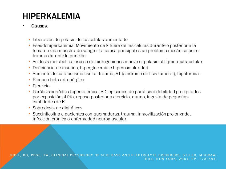 HIPERKALEMIA Causas: Liberación de potasio de las células aumentado Pseudohiperkalemia: Movimiento de k fuera de las células durante o posterior a la