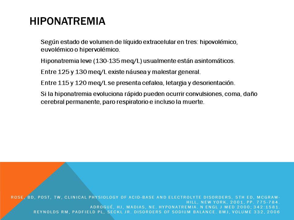 HIPONATREMIA Según estado de volumen de líquido extracelular en tres: hipovolémico, euvolémico o hipervolémico. Hiponatremia leve (130-135 meq/L) usua