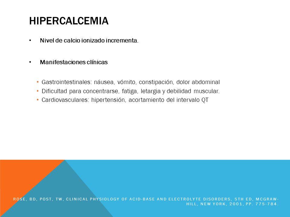 HIPERCALCEMIA Nivel de calcio ionizado incrementa. Manifestaciones clínicas Gastrointestinales: náusea, vómito, constipación, dolor abdominal Dificult