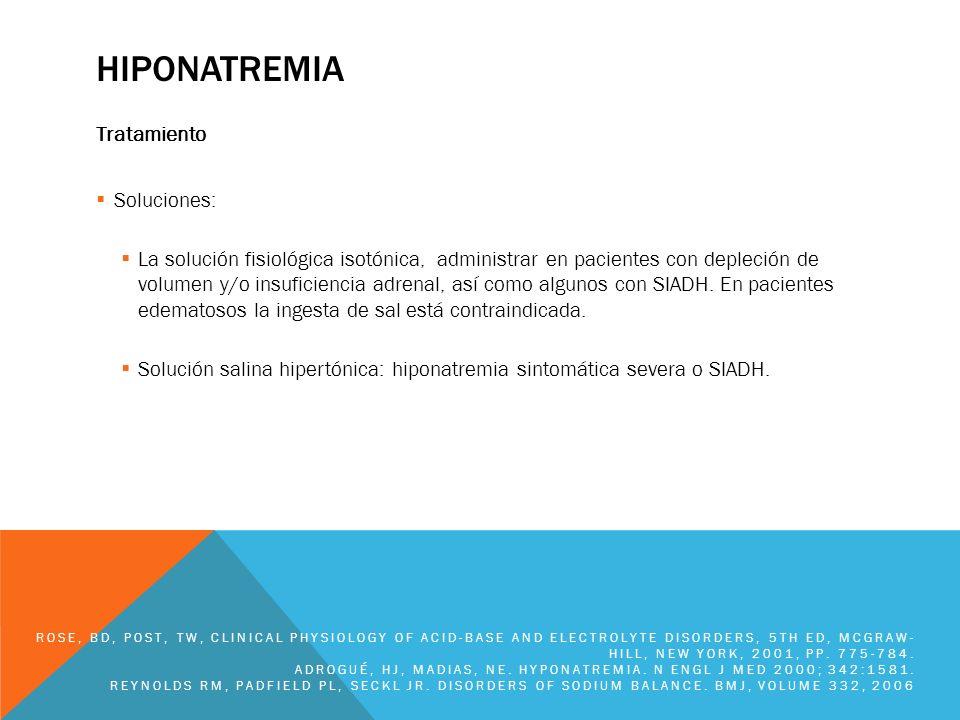 HIPONATREMIA Tratamiento Estimación del déficit de sodio: Déficit de sodio= ACT x (Na deseado – Na actual) ACT= 0.6 x PCT en hombres, 0.5 x PCT en mujeres Ejemplo: Mujer no edematosa, levemente sintomática, que pesa 60 Kg (con 50% aproximado de agua), tiene Na de 116 meq/L.