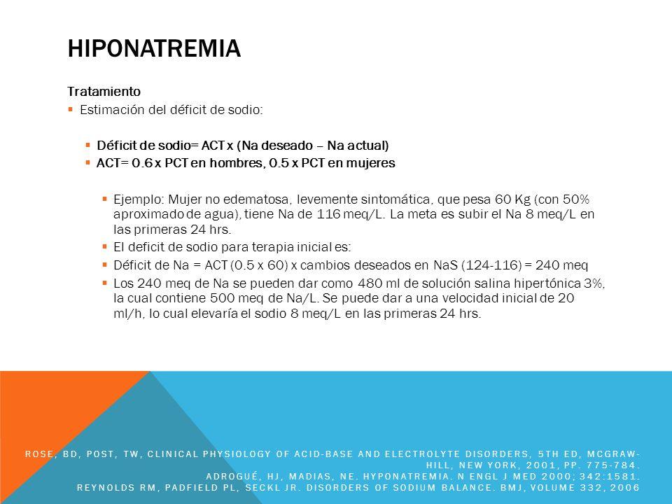 HIPOKALEMIA Tratamiento: Hipokalemia leve a moderada K entre 3 y 3.4 meq/L: generalmente asintomático Pérdidas gastrointestinales: KCl si hay acidosis metabólica.
