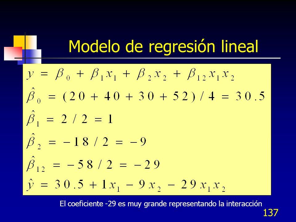 136 Experimento con interacción A = -1 A = +1 B = +1 B = -1 Respuesta 20 50 40 12