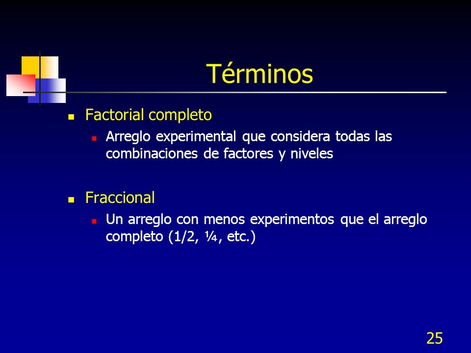 24 Error experimental Variación en respuesta bajo las mismas condiciones de prueba.