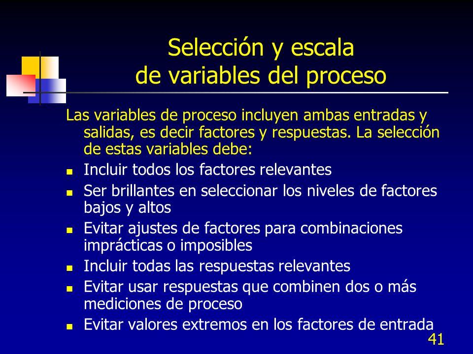 40 La selección de un diseño experimental depende de los objetivos del experimento y del número de factores a ser investigados: Objetivo comparativo Objetivo de filtraje de factores Objetivo del método de superficie de respuesta Optimizar las respuestas cuando los factores son proporciones en un objetivo de mezclas Ajuste óptimo en un objetivo de modelo de regresión Objetivos experimentales