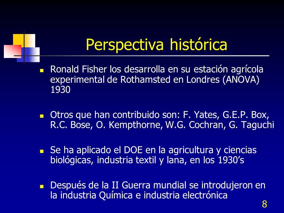8 Ronald Fisher los desarrolla en su estación agrícola experimental de Rothamsted en Londres (ANOVA) 1930 Otros que han contribuido son: F.