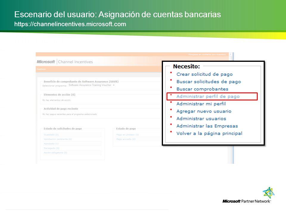 ACCIONES Escenario del usuario: Asignación de cuentas bancarias https://channelincentives.microsoft.com ID del proveedor: la lista de bancos que utiliza para recibir pagos por transferencia electrónica de fondos para sus ubicaciones.