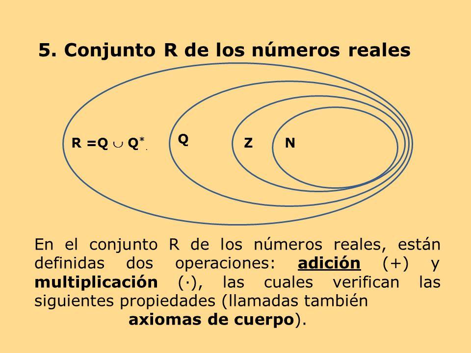 En el conjunto R de los números reales, están definidas dos operaciones: adición (+) y multiplicación (), las cuales verifican las siguientes propieda