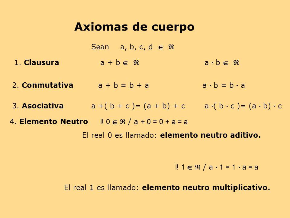 Axiomas de cuerpo 1. Clausura 2. Conmutativa Sean a, b, c, d a + b a b a + b = b + a a b = b a 3. Asociativaa +( b + c )= (a + b) + c a ( b c )= (a b)