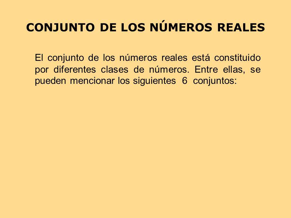 CONJUNTO DE LOS NÚMEROS REALES El conjunto de los números reales está constituido por diferentes clases de números. Entre ellas, se pueden mencionar l