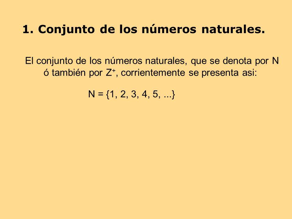 1. Conjunto de los números naturales. El conjunto de los números naturales, que se denota por N ó también por Z +, corrientemente se presenta asi: N =