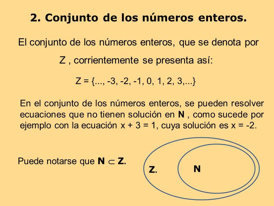 2. Conjunto de los números enteros. El conjunto de los números enteros, que se denota por Z, corrientemente se presenta así: Z = {..., -3, -2, -1, 0,