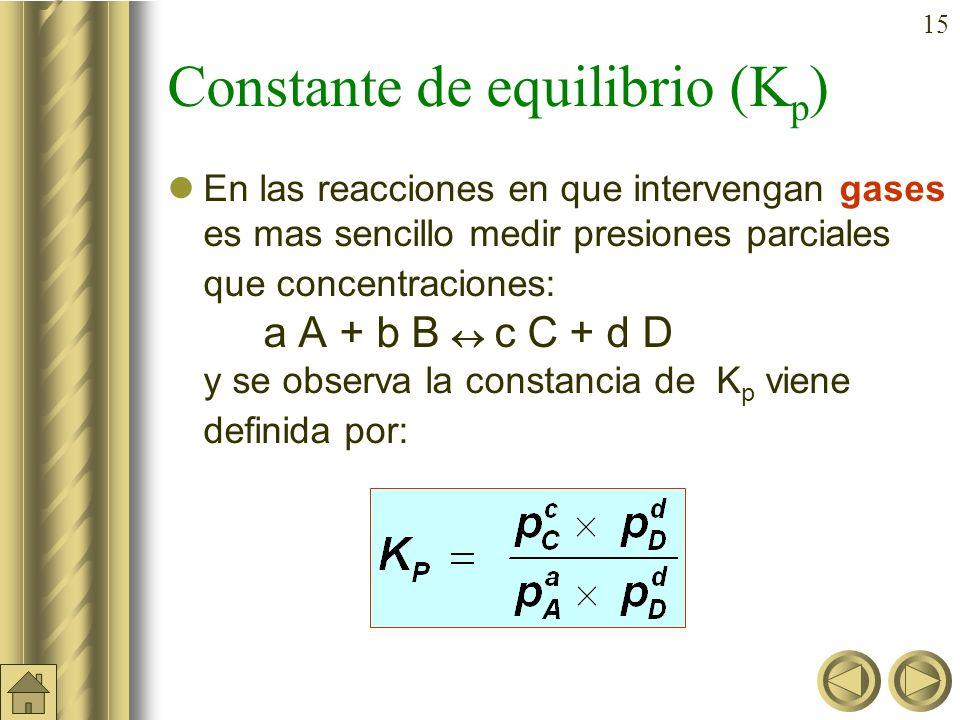 14 Ejercicio B: En un recipiente de 250 ml se introducen 3 g de PCl 5, estableciéndose el equilibrio: PCl 5 (g) PCl 3 (g) + Cl 2 (g). Sabiendo que la