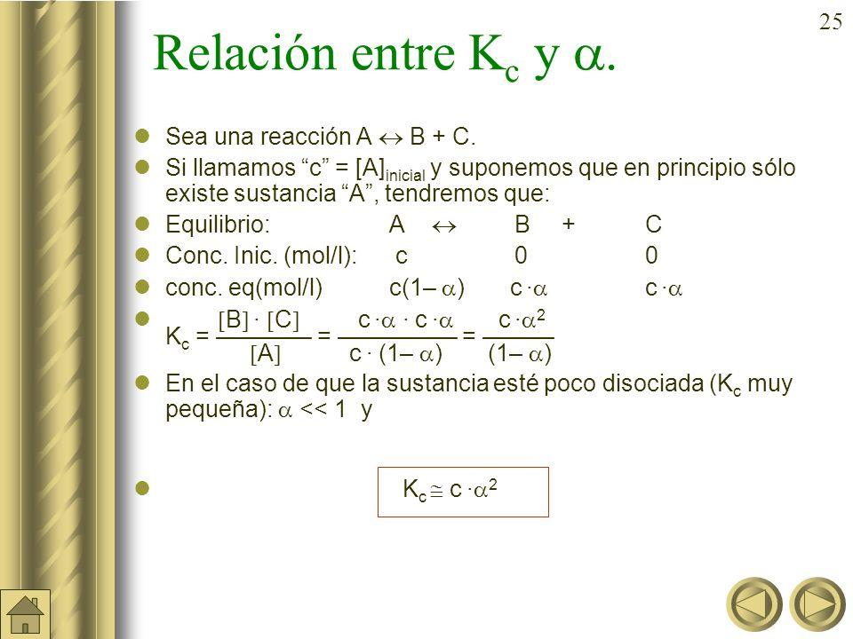 24 a) b) Ejemplo (cont.): En un matraz de 5 litros se introducen 2 moles de PCl 5 (g) y 1 mol de de PCl 3 (g) y se establece el siguiente equilibrio: