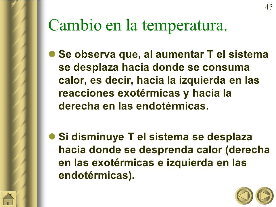44 b) Ejemplo (cont.): b) La concentración de los compuestos si el volumen se reduce a la mitad manteniendo constante la temperatura a 400ºC. b) b) En