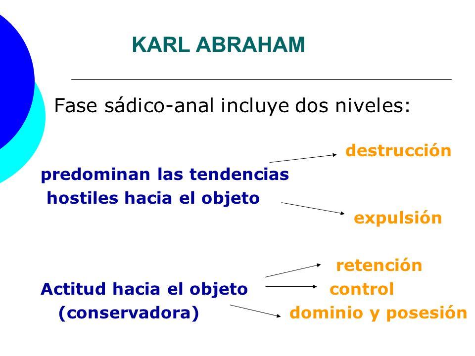 KARL ABRAHAM Fase sádico-anal incluye dos niveles: destrucción predominan las tendencias hostiles hacia el objeto expulsión retención Actitud hacia el