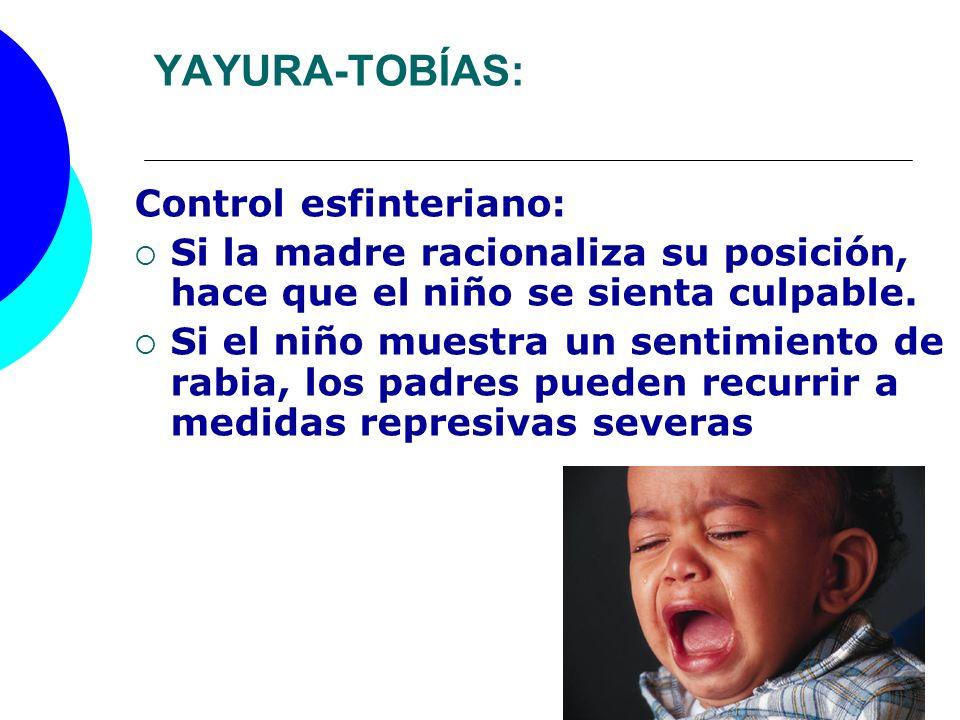 YAYURA-TOBÍAS: Control esfinteriano: Si la madre racionaliza su posición, hace que el niño se sienta culpable. Si el niño muestra un sentimiento de ra