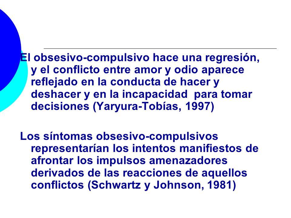El obsesivo-compulsivo hace una regresión, y el conflicto entre amor y odio aparece reflejado en la conducta de hacer y deshacer y en la incapacidad p