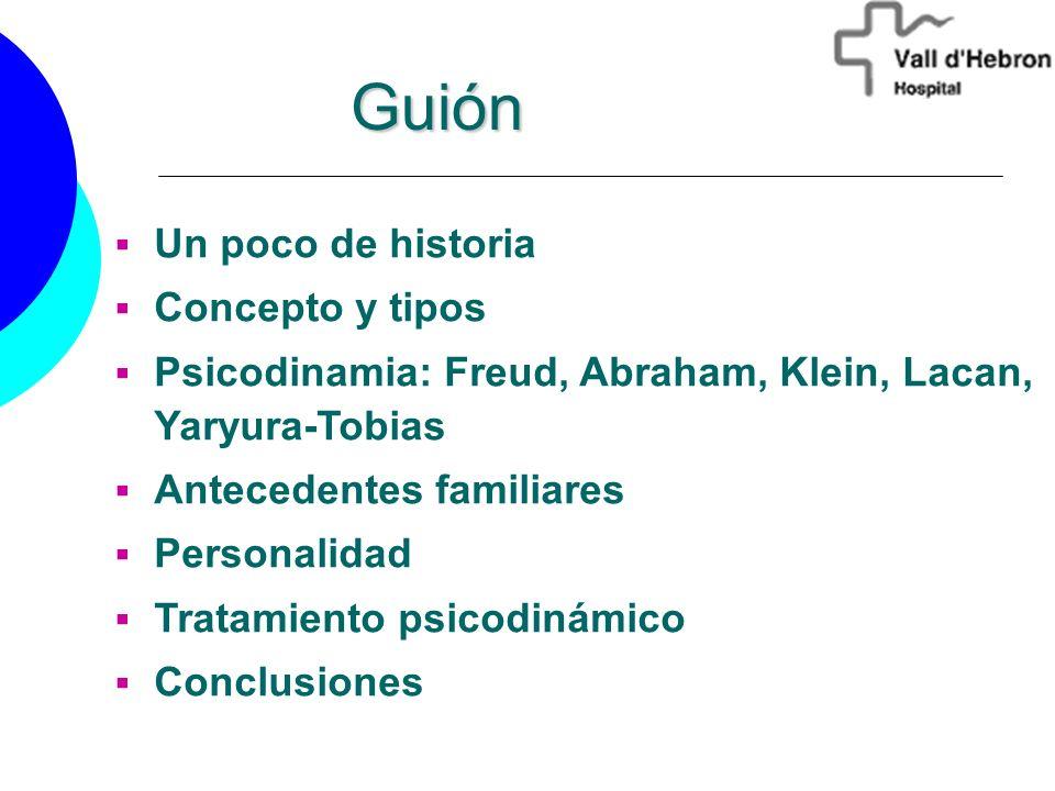 Un poco de historia Concepto y tipos Psicodinamia: Freud, Abraham, Klein, Lacan, Yaryura-Tobias Antecedentes familiares Personalidad Tratamiento psico