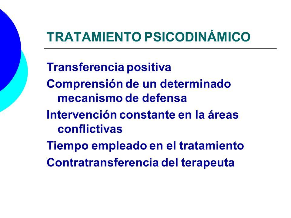 TRATAMIENTO PSICODINÁMICO Transferencia positiva Comprensión de un determinado mecanismo de defensa Intervención constante en la áreas conflictivas Ti