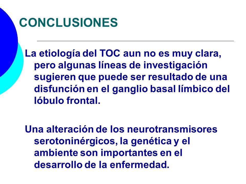 CONCLUSIONES La etiología del TOC aun no es muy clara, pero algunas líneas de investigación sugieren que puede ser resultado de una disfunción en el g