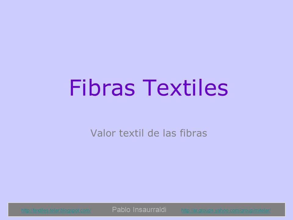 http://textiles-telar.blogspot.com/http://textiles-telar.blogspot.com/ Pablo Insaurraldi http://ar.groups.yahoo.com/group/mitelar/http://ar.groups.yahoo.com/group/mitelar/ Valor Textil de las Fibras Textiles Se entiende bajo este nombre a la serie de propiedades que debe tener una fibra a fin de que se adapte a las operaciones que la transformen en hilados y tejidos, y sirvan así, para fines textiles.