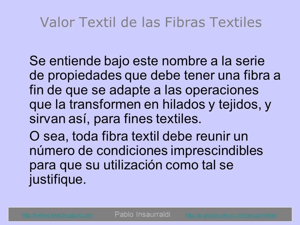 http://textiles-telar.blogspot.com/http://textiles-telar.blogspot.com/ Pablo Insaurraldi http://ar.groups.yahoo.com/group/mitelar/http://ar.groups.yahoo.com/group/mitelar/ Las fibras textiles deben ofrecer suficiente cohesión y fricción para que se reduzca el deslizamiento entre las mismas y aumente la resistencia del hilado.