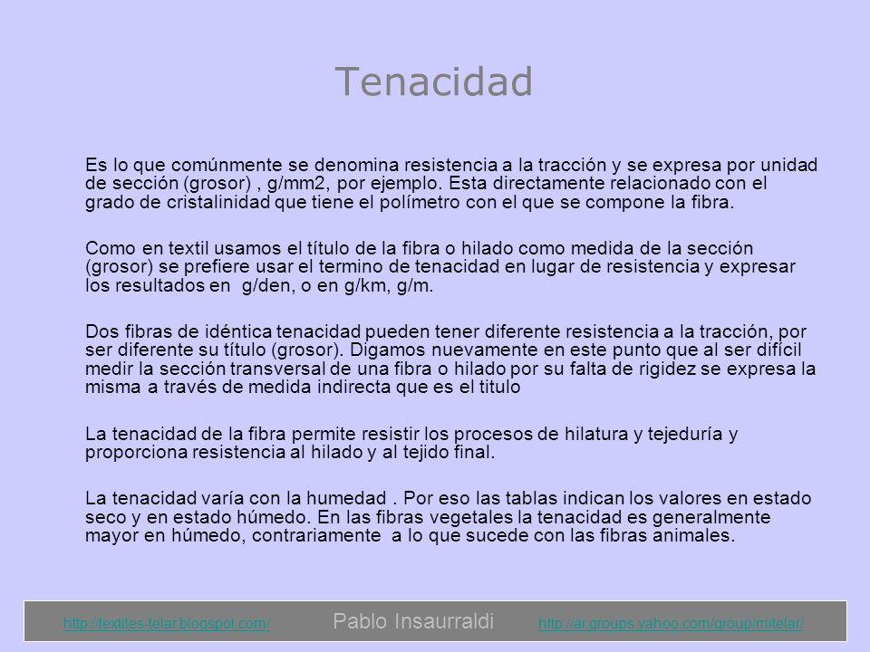 http://textiles-telar.blogspot.com/http://textiles-telar.blogspot.com/ Pablo Insaurraldi http://ar.groups.yahoo.com/group/mitelar/http://ar.groups.yahoo.com/group/mitelar/ Elongación La elongación es una medida de la elasticidad de la fibra en el punto de rotura (cuanto se estira justo antes de romperse).