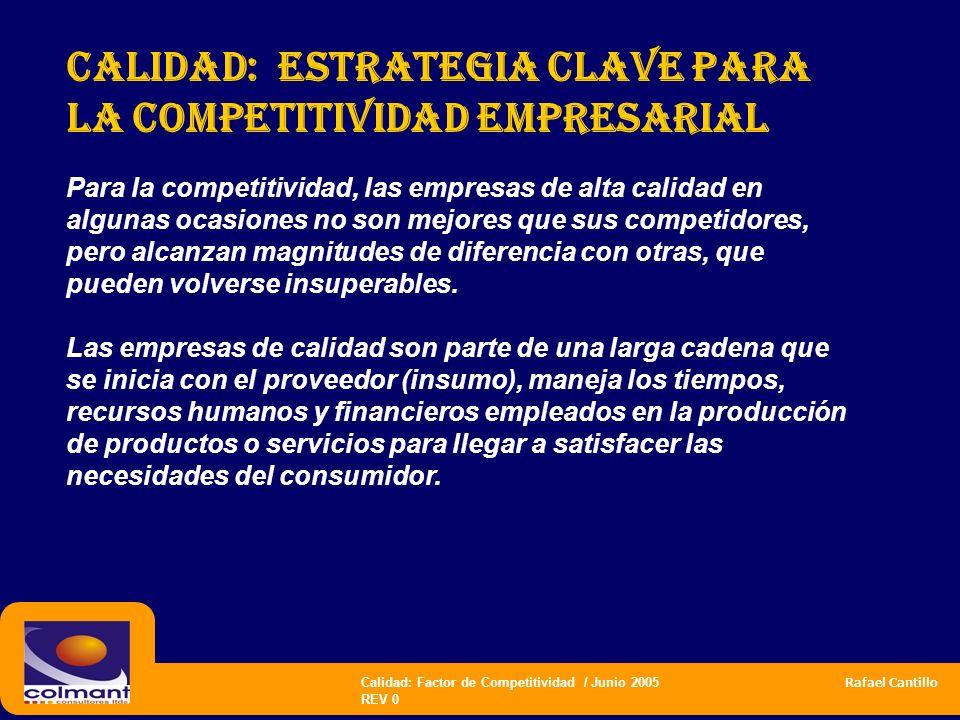 Calidad: Factor de Competitividad / Junio 2005 Rafael Cantillo REV 0 CALIDAD: estrategia CLAVE PARA LA COMPETITIVIDAD empresarial Para la competitivid