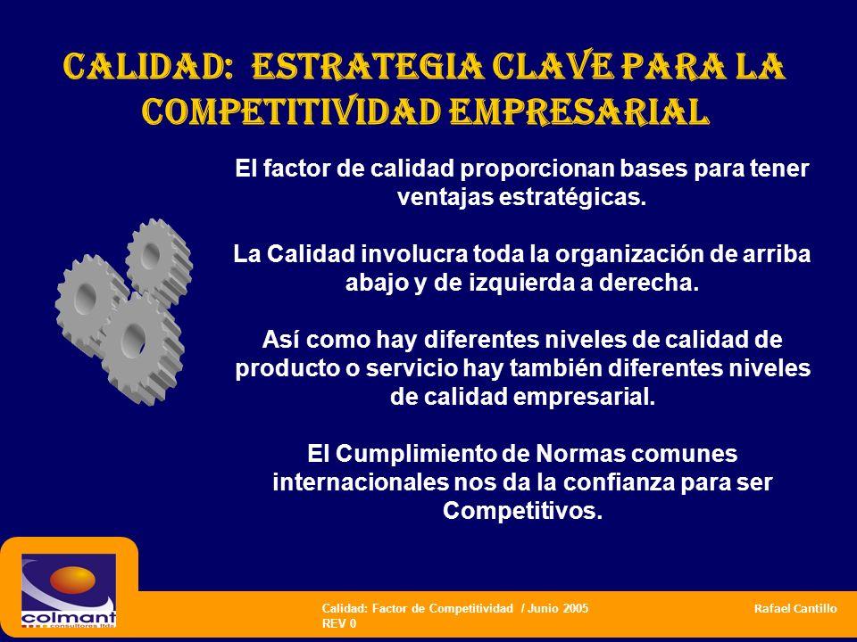 Calidad: Factor de Competitividad / Junio 2005 Rafael Cantillo REV 0 El factor de calidad proporcionan bases para tener ventajas estratégicas. La Cali