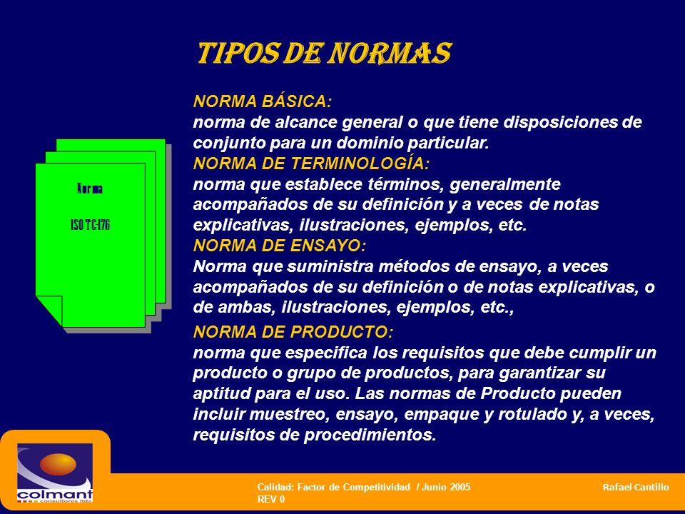 Calidad: Factor de Competitividad / Junio 2005 Rafael Cantillo REV 0 Tipos de normas NORMA BÁSICA: norma de alcance general o que tiene disposiciones