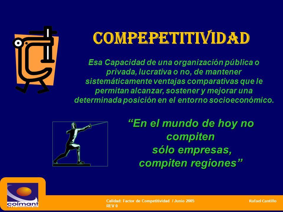 Calidad: Factor de Competitividad / Junio 2005 Rafael Cantillo REV 0 COMPEPETITIVIDAD Esa Capacidad de una organización pública o privada, lucrativa o