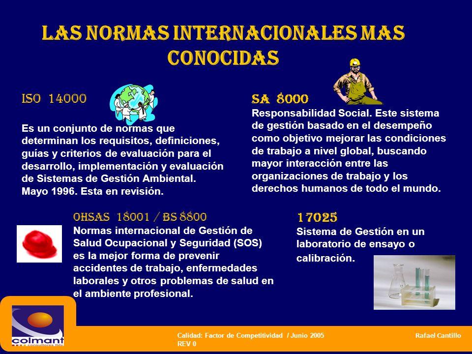 Calidad: Factor de Competitividad / Junio 2005 Rafael Cantillo REV 0 las normas internacionales mas CONOCIDAS ISO 14000 Es un conjunto de normas que d