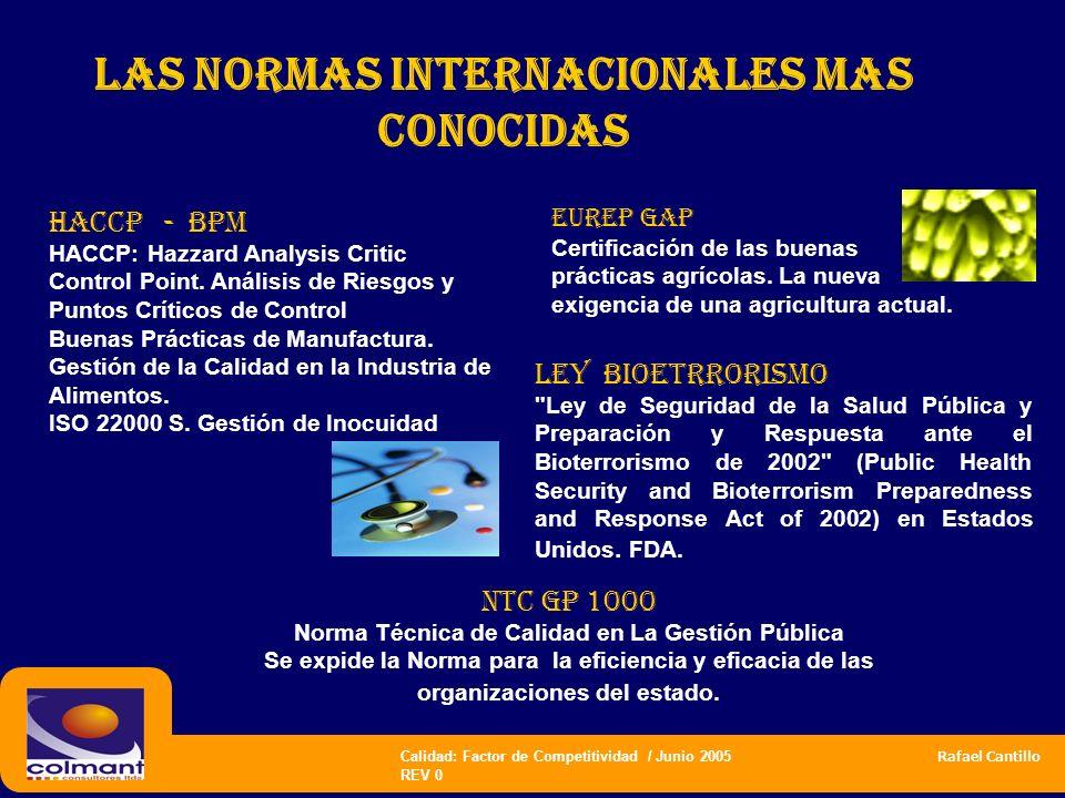 Calidad: Factor de Competitividad / Junio 2005 Rafael Cantillo REV 0 las normas internacionales mas CONOCIDAS Haccp - bpm HACCP: Hazzard Analysis Crit