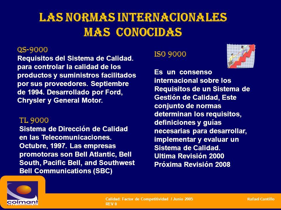 Calidad: Factor de Competitividad / Junio 2005 Rafael Cantillo REV 0 las normas internacionales mas CONOCIDAS ISO 9000 Es un consenso internacional so