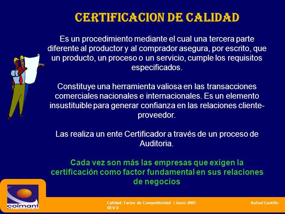 Calidad: Factor de Competitividad / Junio 2005 Rafael Cantillo REV 0 CERTIFICACION DE CALIDAD Es un procedimiento mediante el cual una tercera parte d