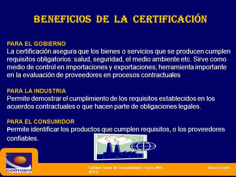 Calidad: Factor de Competitividad / Junio 2005 Rafael Cantillo REV 0 BENEFICIOS DE la Certificación PARA EL GOBIERNO La certificación asegura que los