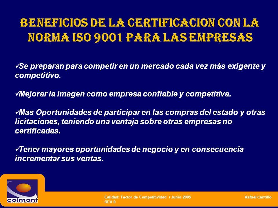 Calidad: Factor de Competitividad / Junio 2005 Rafael Cantillo REV 0 BENEFICIOS DE LA CERTIFICACION CON LA NORMA ISO 9001 PARA LAS EMPRESAS Se prepara
