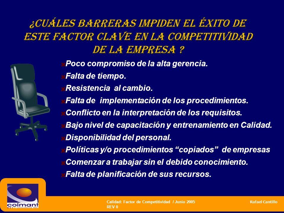 Calidad: Factor de Competitividad / Junio 2005 Rafael Cantillo REV 0 ¿CUÁLES BARRERAS IMPIDEN EL ÉXITO DE este factor clave en la competitividad de LA