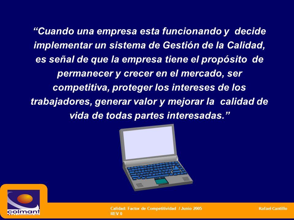 Calidad: Factor de Competitividad / Junio 2005 Rafael Cantillo REV 0 Cuando una empresa esta funcionando y decide implementar un sistema de Gestión de