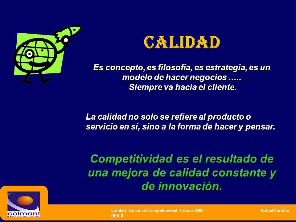 Calidad: Factor de Competitividad / Junio 2005 Rafael Cantillo REV 0 CALIDAD Es concepto, es filosofía, es estrategia, es un modelo de hacer negocios