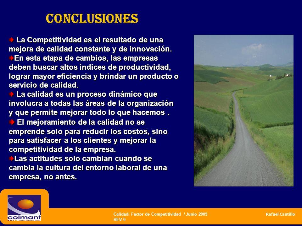 Calidad: Factor de Competitividad / Junio 2005 Rafael Cantillo REV 0 CONCLUSIONES La Competitividad es el resultado de una mejora de calidad constante
