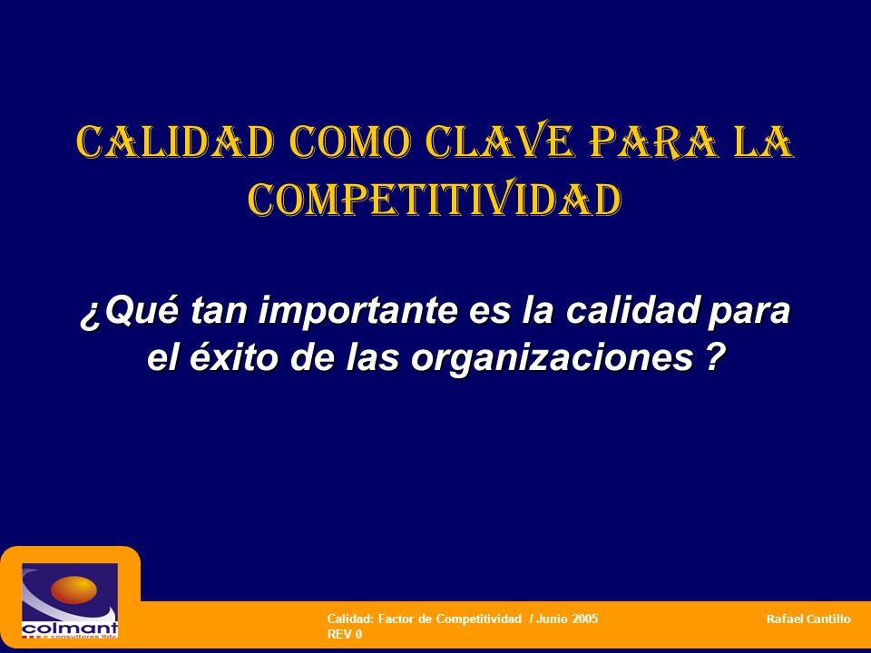 Calidad: Factor de Competitividad / Junio 2005 Rafael Cantillo REV 0 CALIDAD COMO CLAVE PARA LA COMPETITIVIDAD ¿Qué tan importante es la calidad para