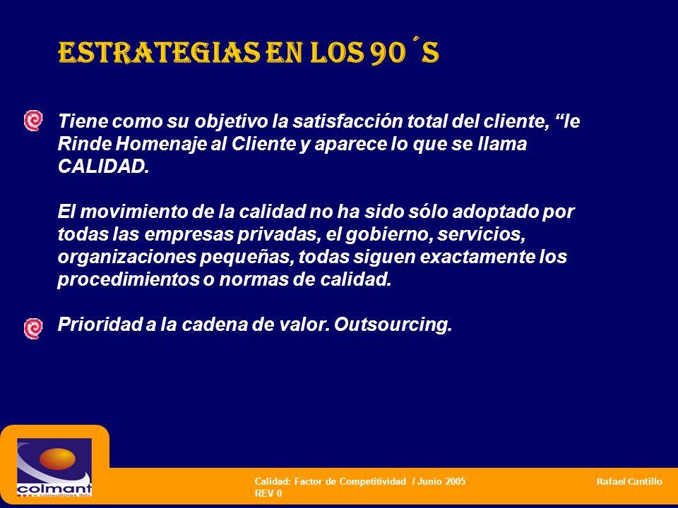 Calidad: Factor de Competitividad / Junio 2005 Rafael Cantillo REV 0 Tiene como su objetivo la satisfacción total del cliente, le Rinde Homenaje al Cl