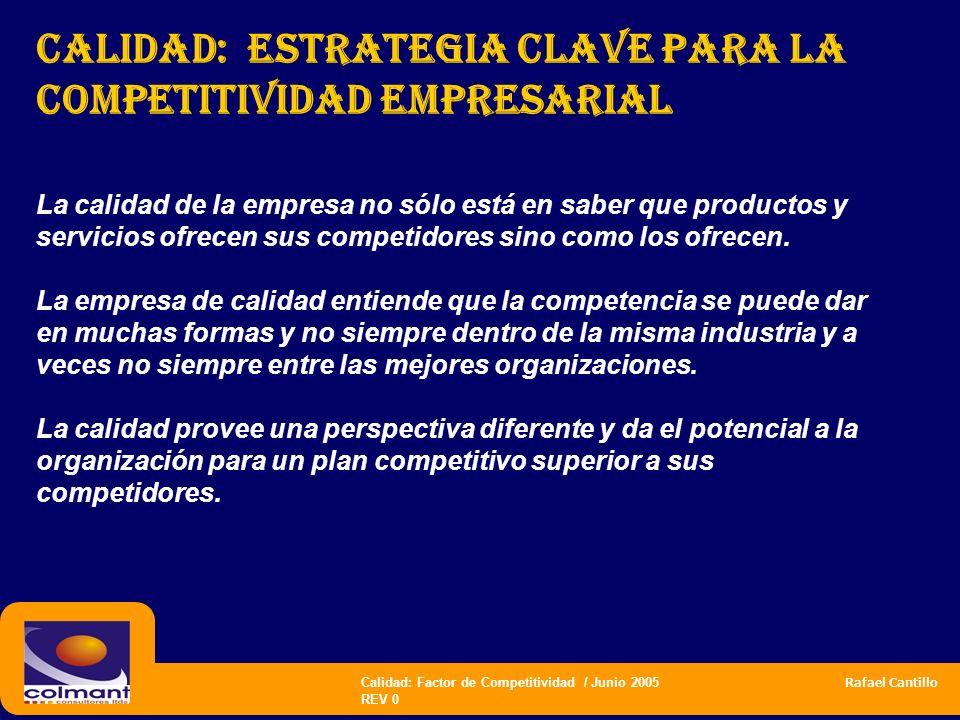 Calidad: Factor de Competitividad / Junio 2005 Rafael Cantillo REV 0 CALIDAD: estrategia CLAVE PARA LA COMPETITIVIDAD empresarial La calidad de la emp