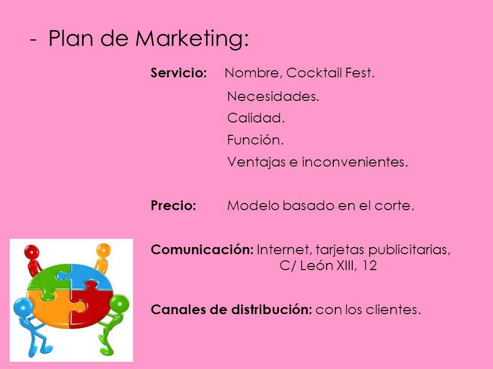 -Plan de Marketing: Servicio: Nombre, Cocktail Fest.