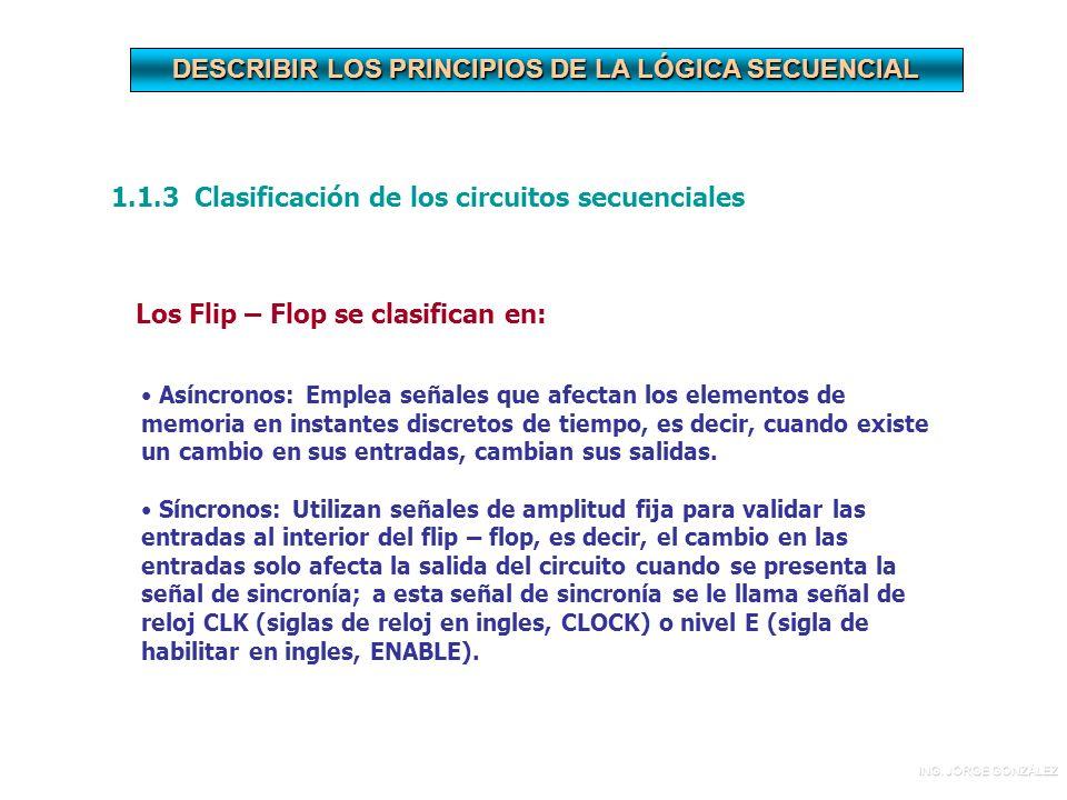 DESCRIBIR LOS PRINCIPIOS DE LA LÓGICA SECUENCIAL 1.1.3 Clasificación de los circuitos secuenciales Los Flip – Flop se clasifican en: Asíncronos: Emplea señales que afectan los elementos de memoria en instantes discretos de tiempo, es decir, cuando existe un cambio en sus entradas, cambian sus salidas.