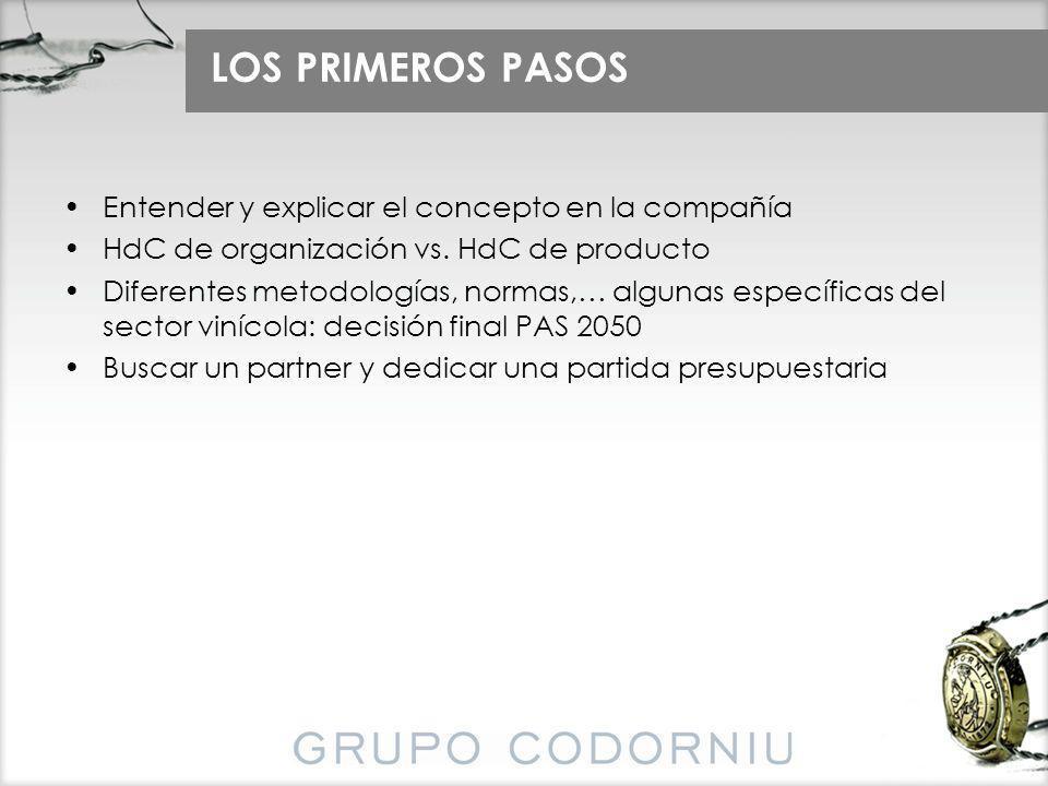 LOS PRIMEROS PASOS Entender y explicar el concepto en la compañía HdC de organización vs. HdC de producto Diferentes metodologías, normas,… algunas es